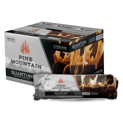 Quantum Premium Firelog, 2.5 Hour Firelog, Bright Firelog for Fireplace, Fire Pit, Indoor and Outdoor Use (4-Pack)