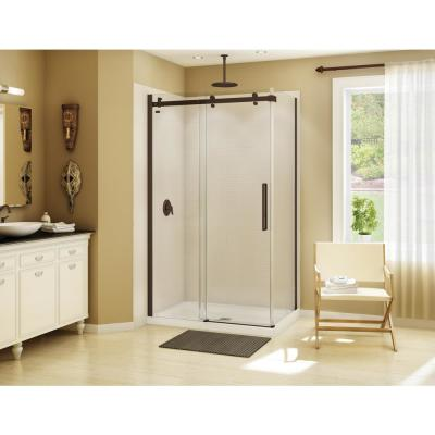 Halo 48 in. x 31-7/8 in. Frameless Corner Sliding Shower Enclosure in Dark Bronze