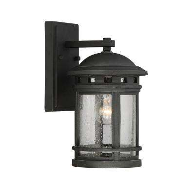 1-Light Outdoor Black Wall Mount Sconce