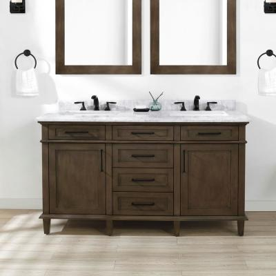 Sonoma 60 in. W x 22 in. D Bath Vanity in Almond Latte with Carrara Marble Vanity Top in White with White Basin