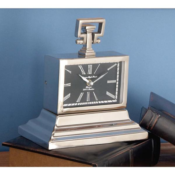10 in. x 9 in. Classic Aluminium and Wood Rectangular Table Clock in Polished finish