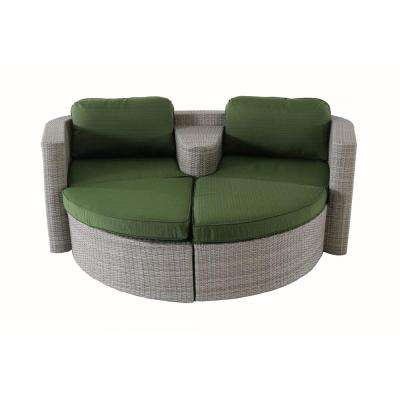 Decatur 3-Piece All-Weather Wicker Patio Seating Set with Green Cushions