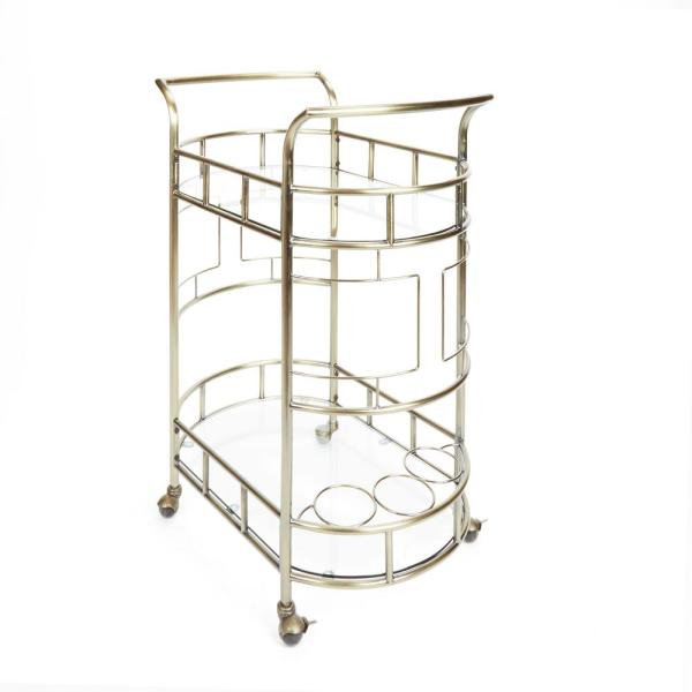 Silverwood Furniture Reimagined Sinclair 2-Tier Antique Gold Serving Cart