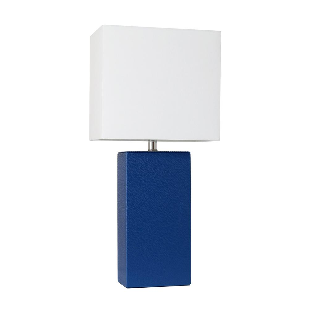Elegant Designs Monaco Avenue 21 In Modern Blue Leather Table Lamp With White Fabric Shade
