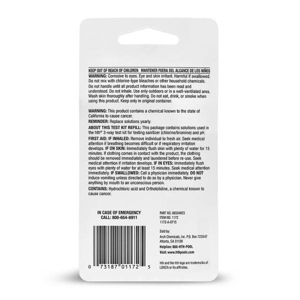 Hth 3 Way Pool Refill Test Kit 1172 The Home Depot