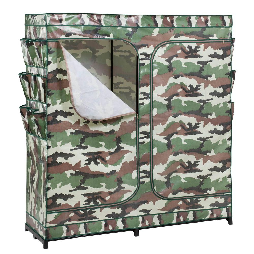 Honey-Can-Do 64 in. H x 60 in. W x 20 in. D Double-Door Portable Closet with Shoe Organizer in Camouflage