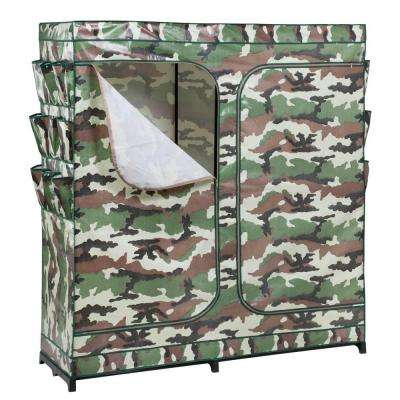 64 in. H x 60 in. W x 20 in. D Double-Door Portable Closet with Shoe Organizer in Camouflage