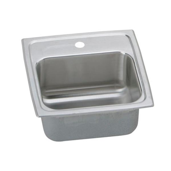 Lustertone Drop-In Stainless Steel 15 in. 1-Hole Bar Sink