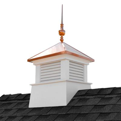 Manchester 26 in. x 26 in. x 59 in. H Square Vinyl Cupola with Victoria Copper Finial