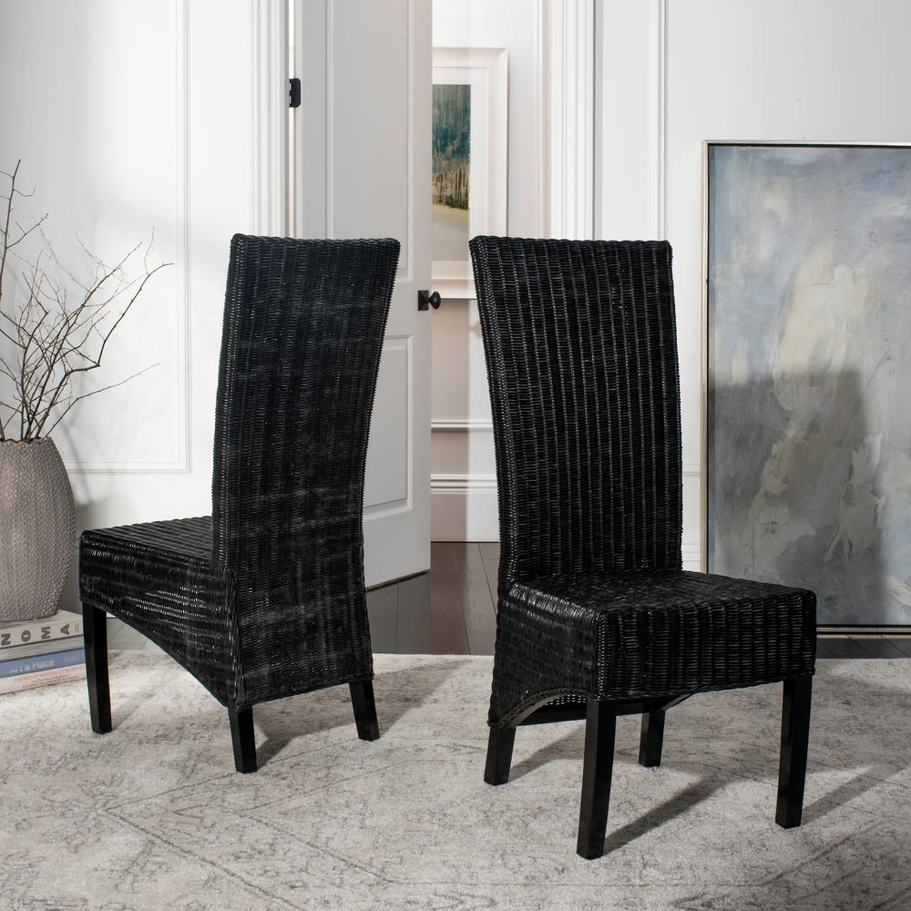 Safavieh Siesta Black Wicker Side Chair (Set of 2) - Safavieh Siesta Black Wicker Side Chair (Set Of 2)-FOX6000B-SET2