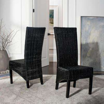 rattan living room furniture outdoor living area siesta black wicker side chair set of 2 living room furniture the home depot