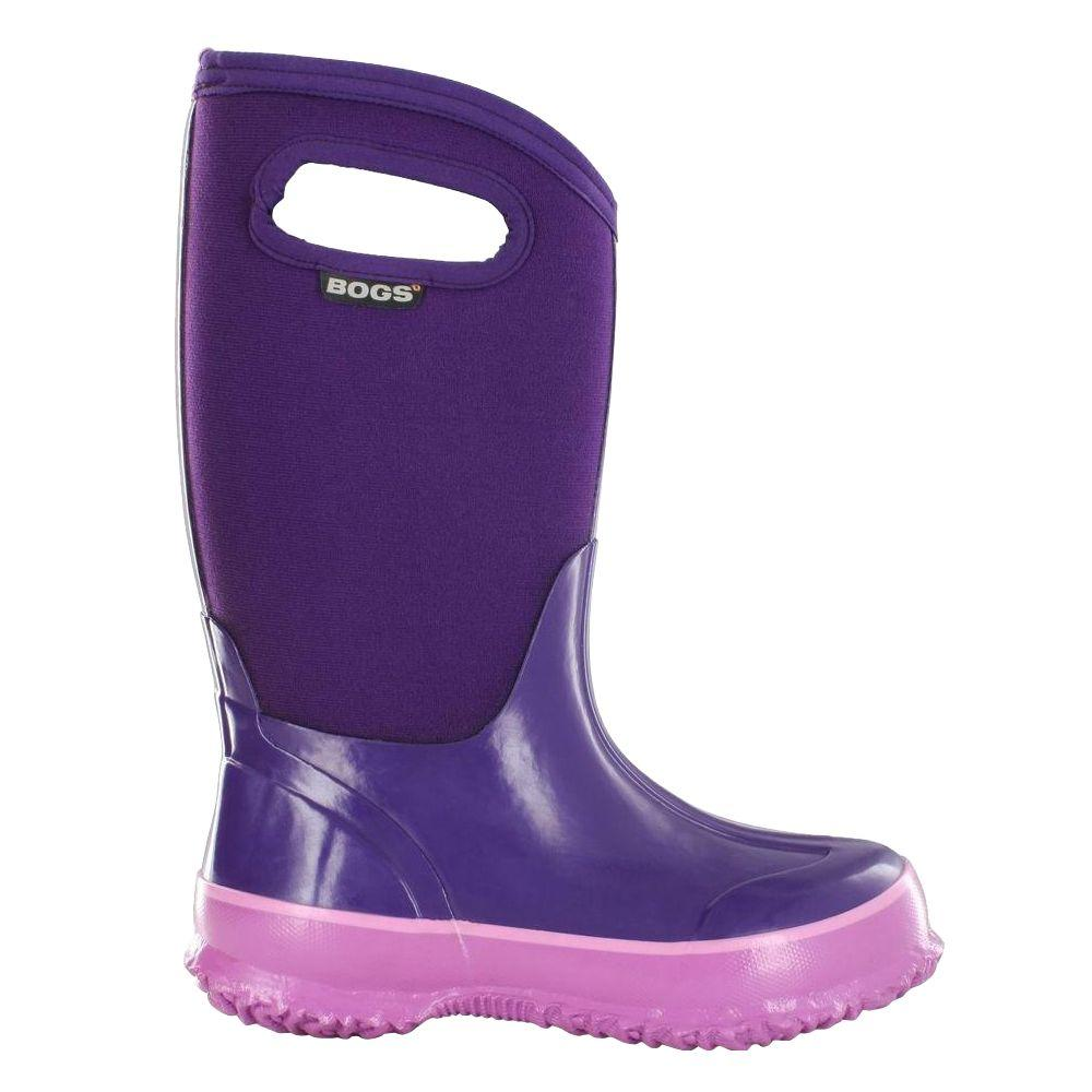 BOGS Classic High Handles Kids 10 in. Size 3 Grape Rubber with Neoprene Waterproof Boot