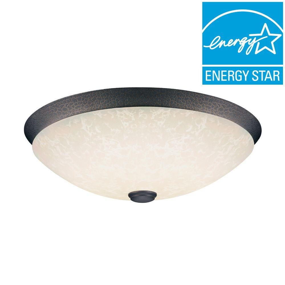 Hampton Bay Moonstone 2-Light Flush-Mount Oil-Rubbed Bronze Fluorescent Light Fixture-DISCONTINUED