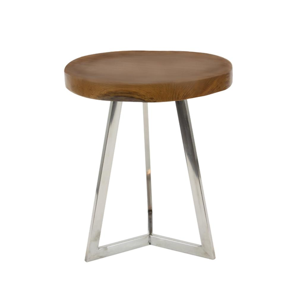 Superbe Matte Brown Round Wooden Accent Table With Silver Tripod Base