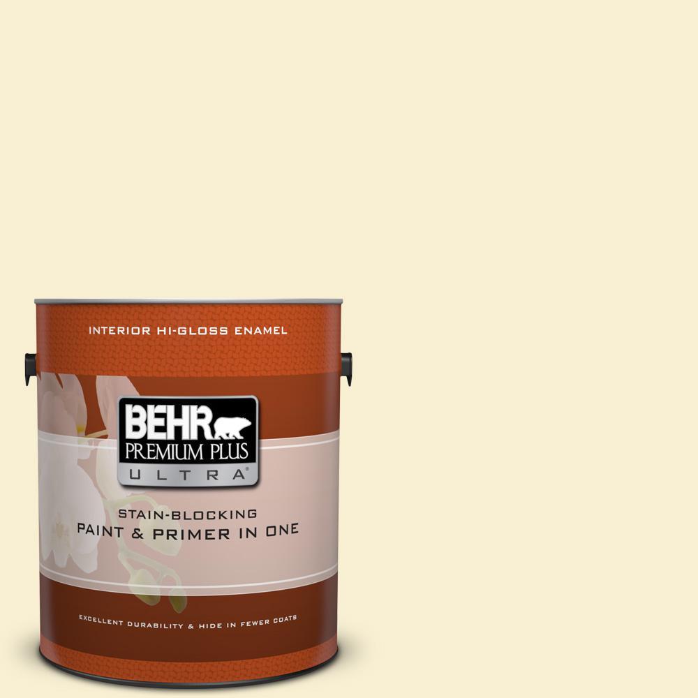 1 gal. #370C-2 Custard Cream Hi-Gloss Enamel Interior Paint