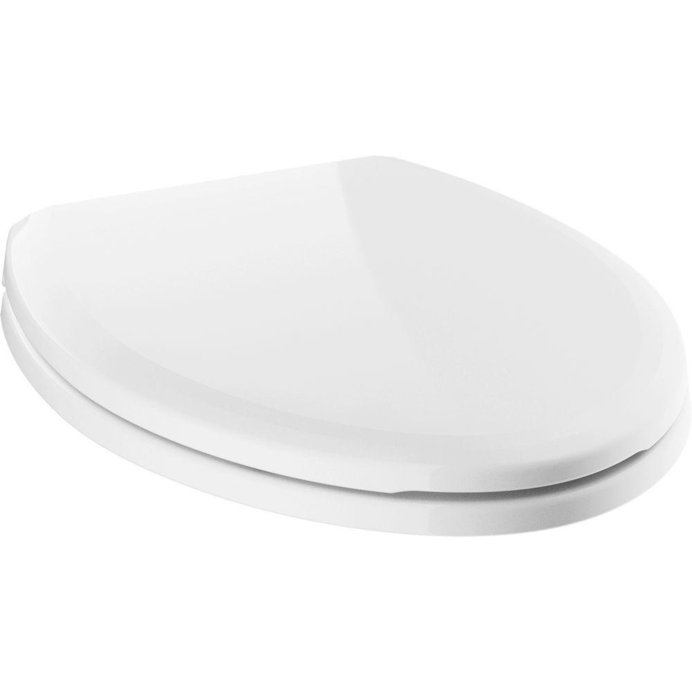 Sanborne Elongated Closed Front Toilet Seat with NoSlip Bumpers in White