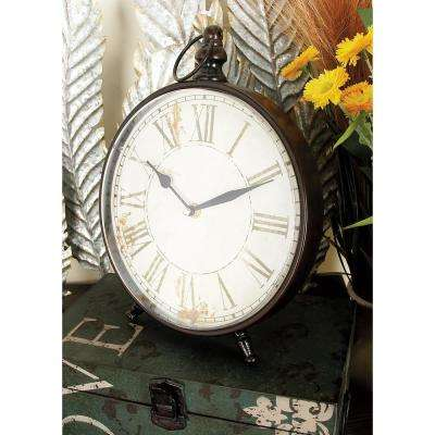 12 in. x 9 in. Vintage-Style Black Round Peg-Legged Table Clocks (Set of 4)