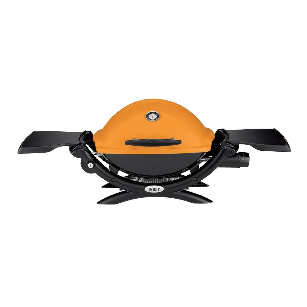 Weber Q 1200 1-Burner Portable Tabletop Propane Gas Grill in Orange with Built-In Thermometer