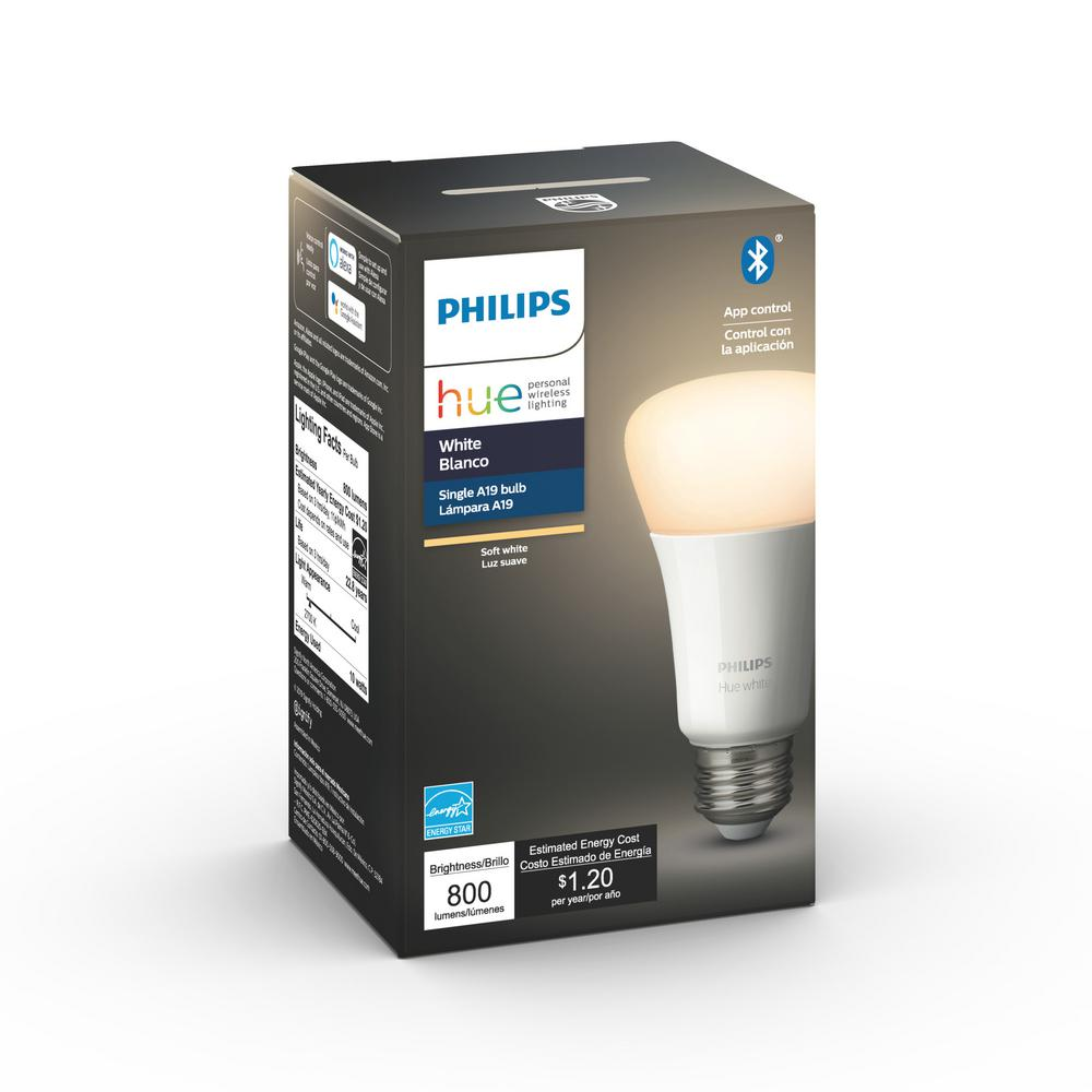 Philips Hue White A19 LED 60-Watt Equivalent Dimmable Smart Wireless Light Bulb with Bluetooth