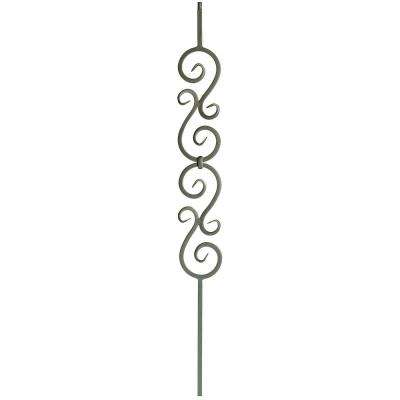 44 in. x 1/2 in. Flat Black Plain Double Scroll Hollow Iron Baluster