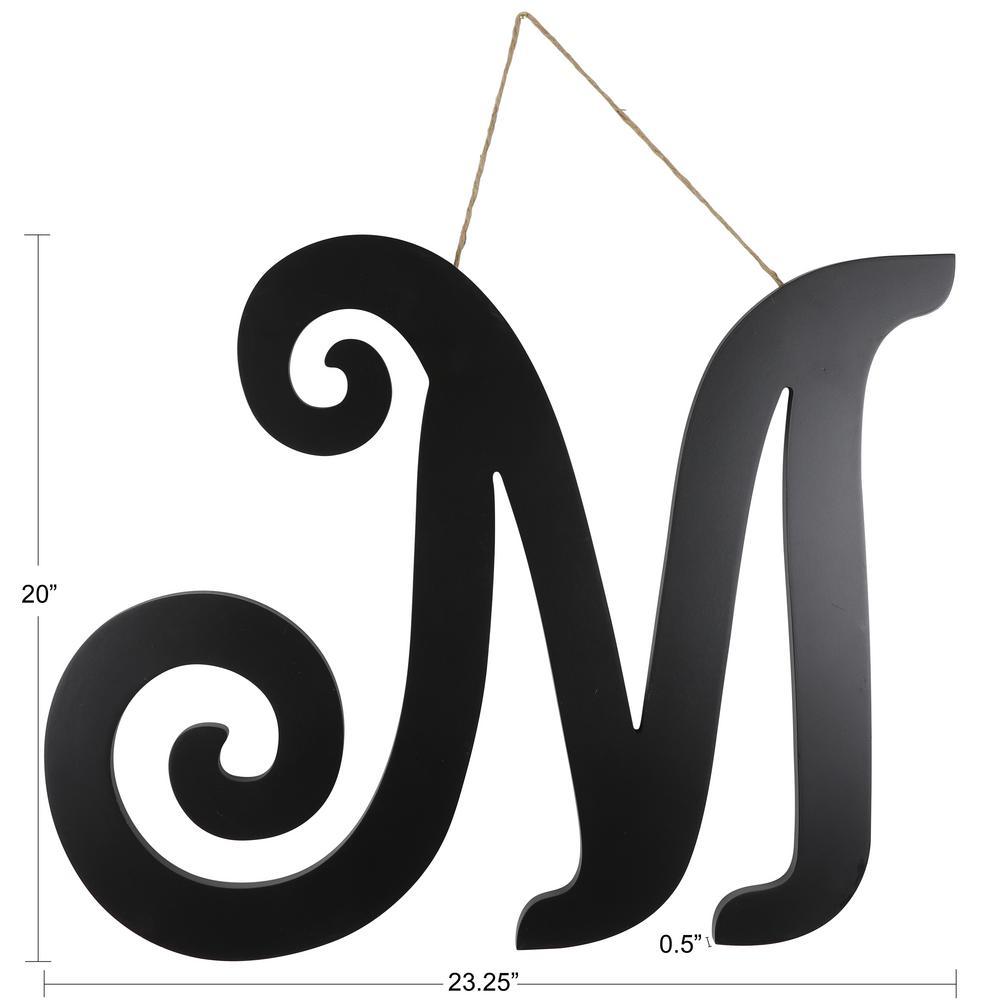 Black M Script Letter