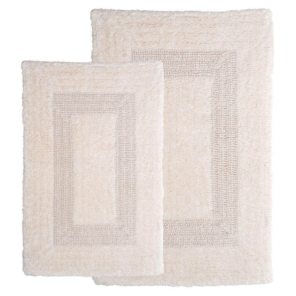 Lavish Home Ivory 1 ft. 10 in. x 2 ft. 11 in. Cotton 2-Piece Bath Rug Set