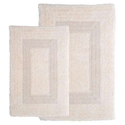 Ivory 1 ft. 10 in. x 2 ft. 11 in. Cotton 2-Piece Bath Rug Set