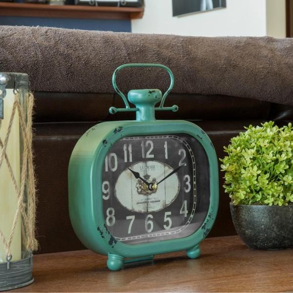 Distressed Teal Metal Decorative Clock