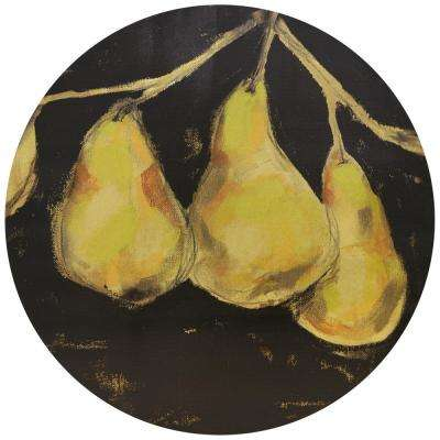 """Golden Pears"" Circular gold canvas Giclee printed on 2 in.  Wood Stretcher Wall Art"