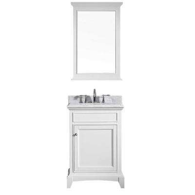 Elite Stamford 24 in. W x 23.5 in. D x 36 in. H Vanity in White with Carrera Marble Top in White with White Basin