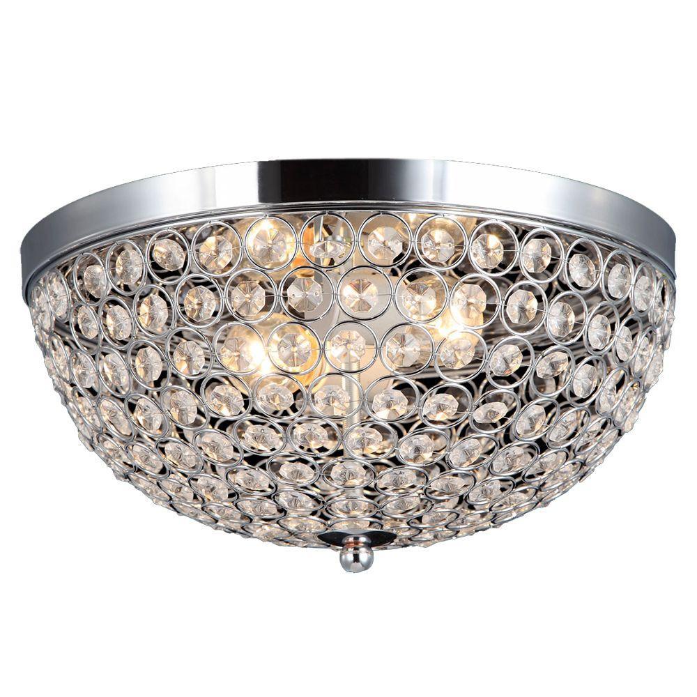 Decor Living 2 Light Chrome And Crystal Flush Mount 105033 15 The