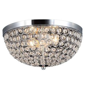 Decor Living 2-Light Chrome and Crystal Flushmount by Decor Living