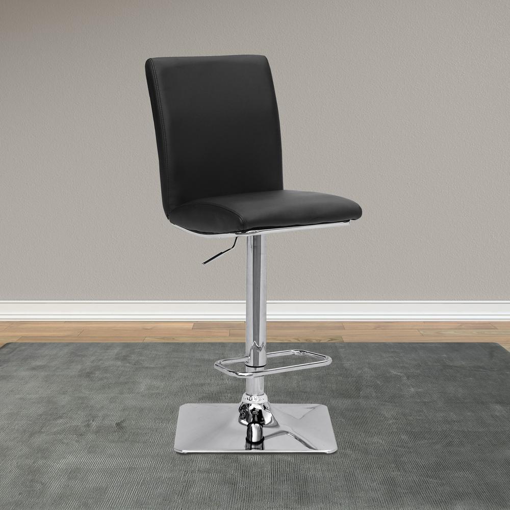 CorLiving Adjustable Height Black Bonded Leather Swivel Bar Stool (Set Of 2)