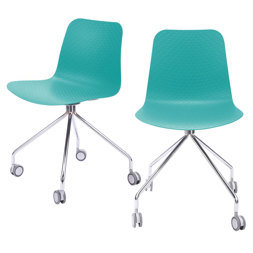Molded plastic furniture Outdoor Lounge Chairs Hebe Series Turquoise Office Chair Designer Task Chair Molded Plastic Seat With Chrome Wheel Legs set Of 2 Home Depot Cozyblock Hebe Series Turquoise Office Chair Designer Task Chair