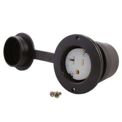 15/20 Amp 125-Volt NEMA 5-20R T-Blade Flanged Mounting Household Outlet with Cover