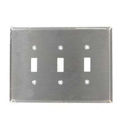 3-Gang 3-Toggle Oversized Stainless Steel Wall Plate, Stainless Steel