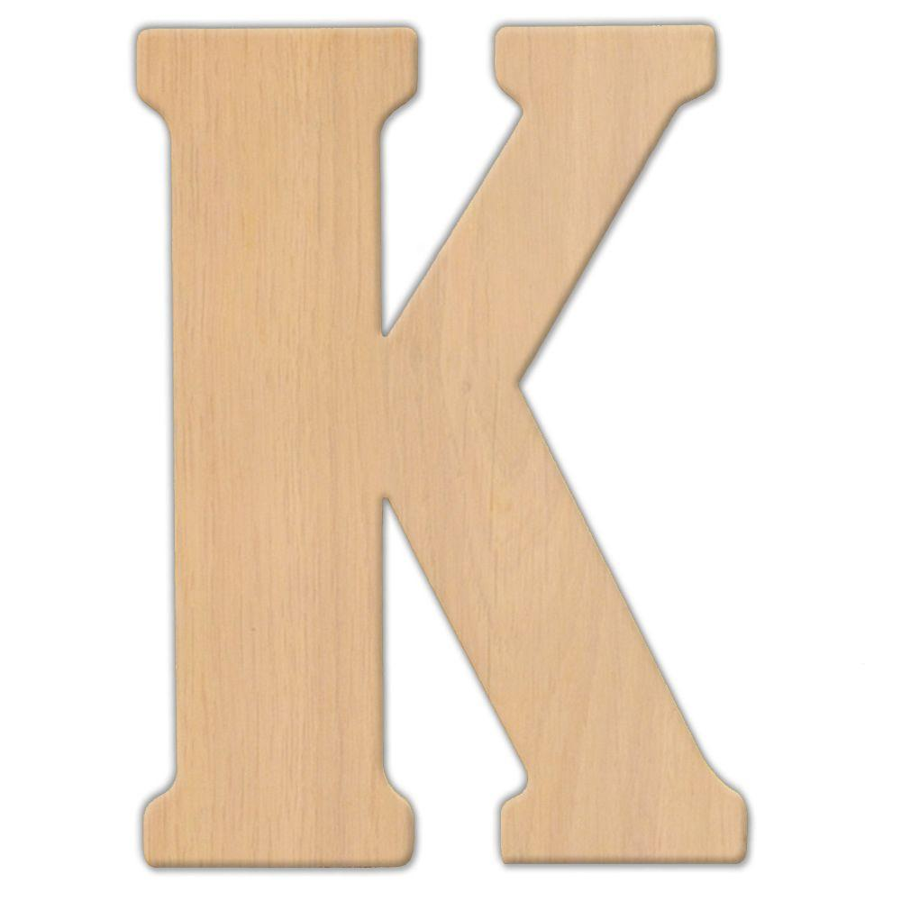 15 in. Oversized Unfinished Wood Letter (K)