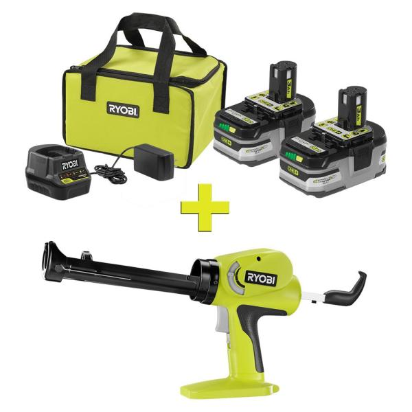 RYOBI 18-Volt ONE+ LITHIUM+ HP 3.0 Ah Battery (2-Pack) Starter Kit w/ Charger and Bag with Free ONE+ Power Caulk/Adhesive Gun