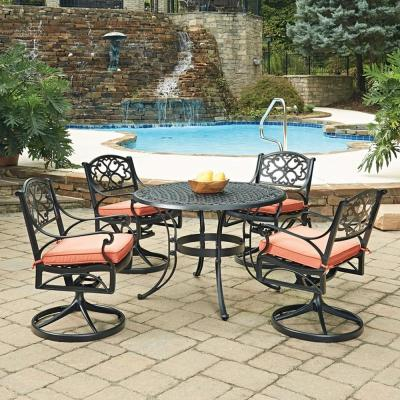 Sanibel 42 in. Swivel Black 5-Piece Cast Aluminum Round Outdoor Dining Set with Coral Cushions