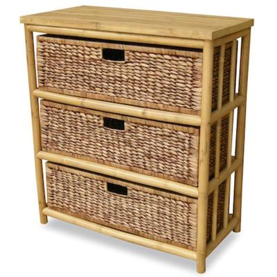 Shelly Assembled 29 in. x 29 in. x 14.25 in. Natural Brown Bamboo Open Sided Storage Cabinet with 3 Baskets