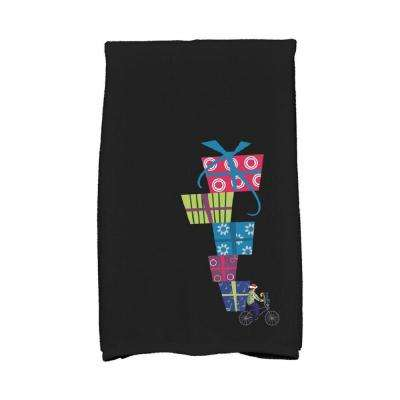 16 in. x 25 in. Black Special Delivery Holiday Geometric Print Kitchen Towel