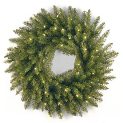 24 in. Dunhill Fir Artificial Wreath with Clear Lights