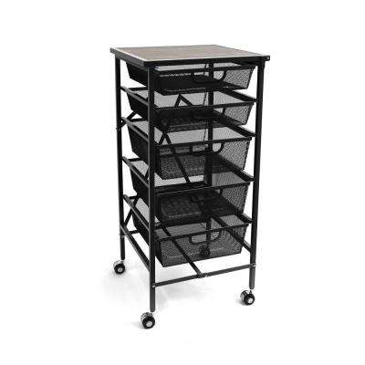 Folding Steel 5 Drawer Mesh Storage Kitchen Cart Wood Top, Black