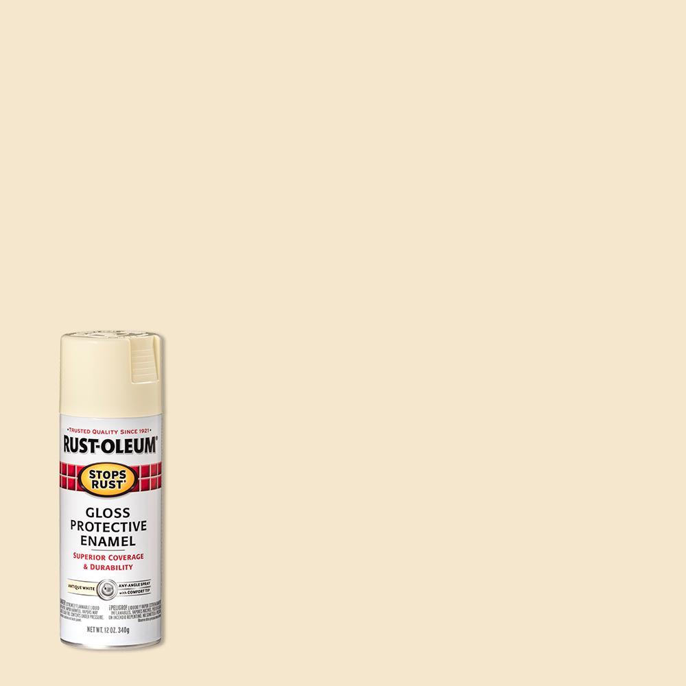 Rust-Oleum Stops Rust 12 oz. Protective Enamel Gloss Antique White Spray Paint (6 Pack)