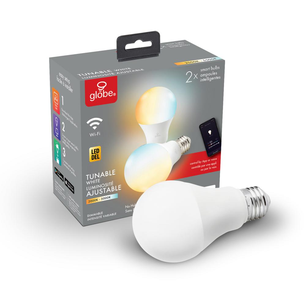 Globe Electric Wi-Fi Smart 60W Equivalent Tunable White Frosted LED Light Bulb, No Hub Required, A19, E26 Base (2-Pack)