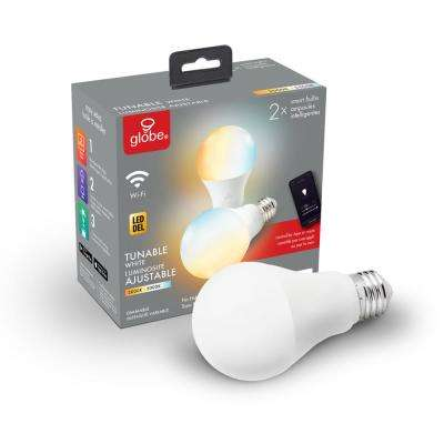 Wi-Fi Smart 60W Equivalent Tunable White Dimmable Frosted LED Light Bulb, No Hub Required, A19, E26 Base (2-Pack)