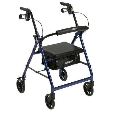 4-Wheel Rollator Walker with Removable Folding Back Support and Padded Seat in Blue