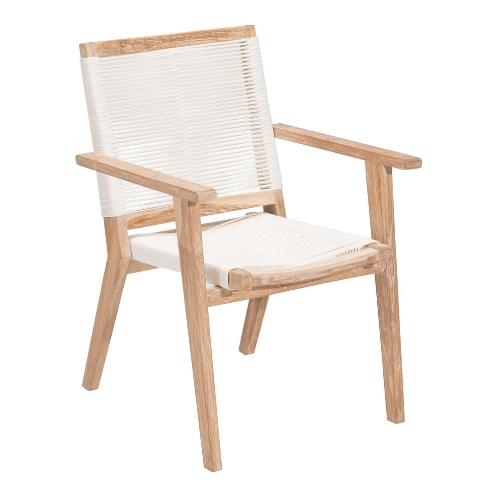 Zuo West Port Wood Outdoor Patio Dining Chair In White Wash And