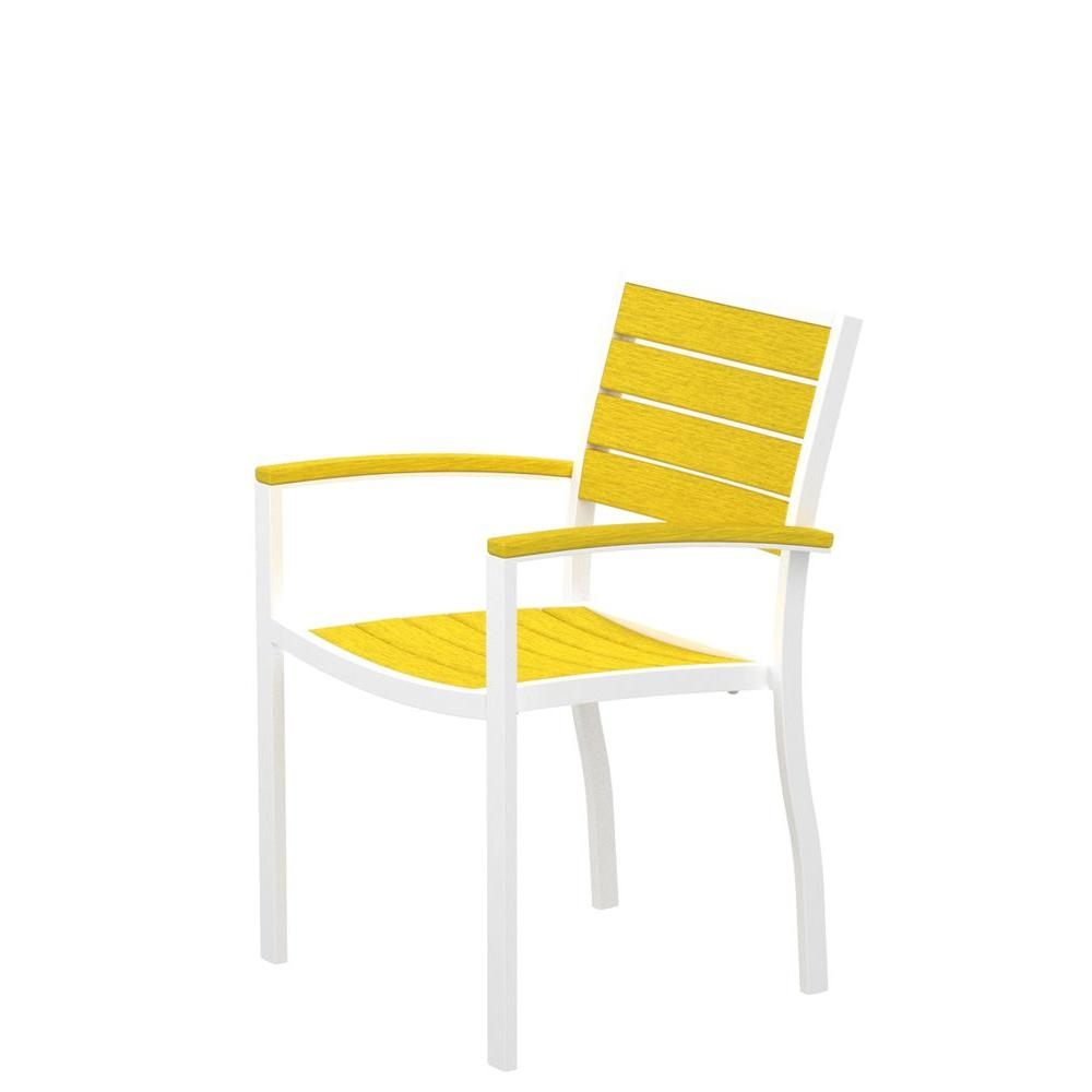 POLYWOOD Euro Gloss White Patio Dining Arm Chair with Lemon Slats-DISCONTINUED
