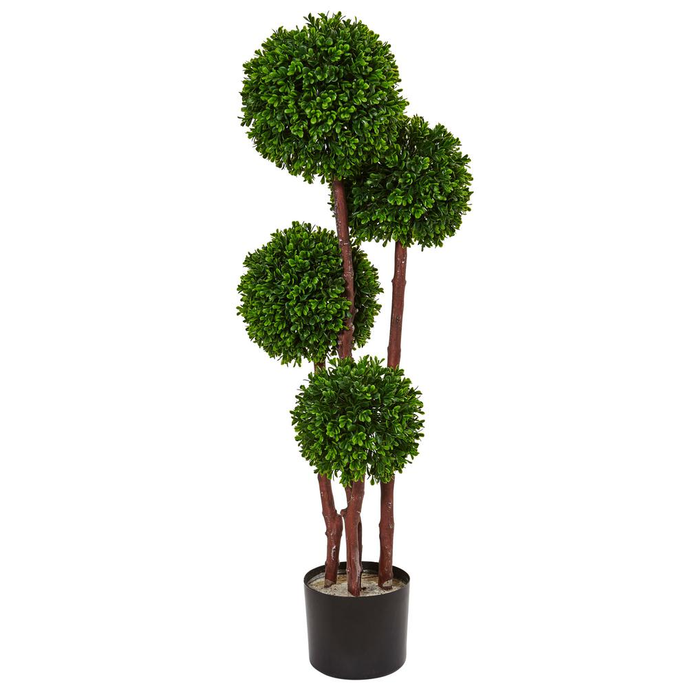 Indoor Evergreen Trees: Nearly Natural Indoor/Outdoor Boxwood Topiary Artificial